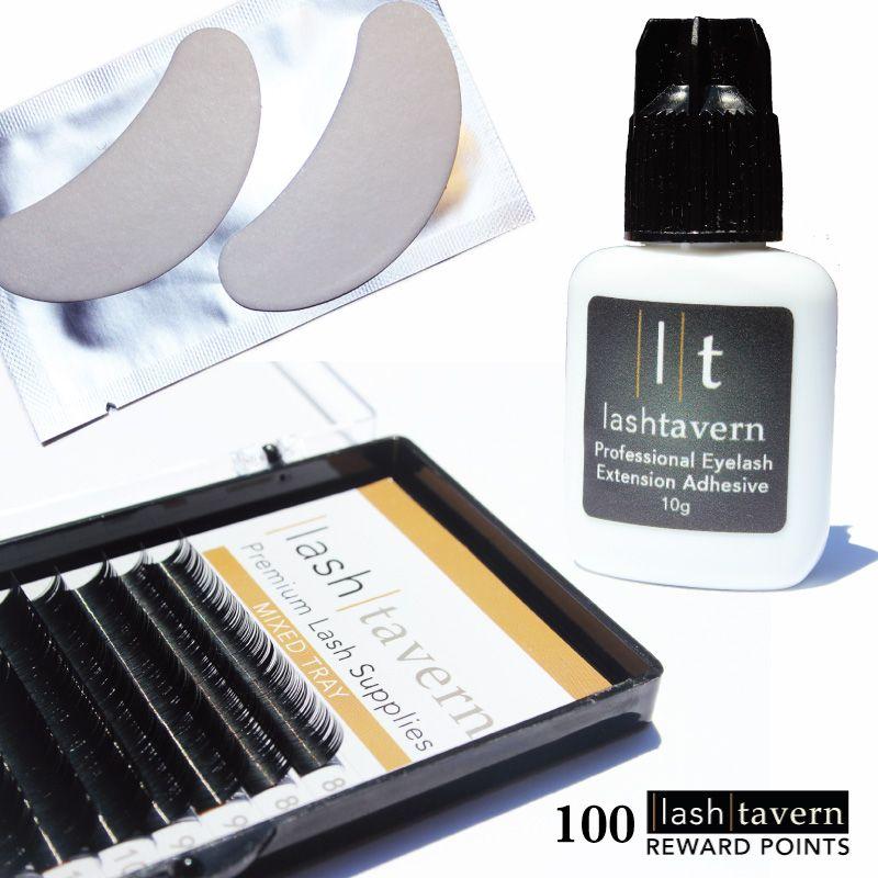 Eyelash Extension Supplies Including Adhesive Mixed Tray Eye Pads