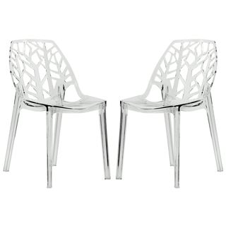 Exceptional Modern Flora Clear Cut Out Transparent Plastic Dining Chairs (Set Of 2) |