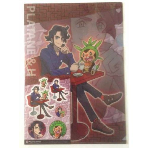 Pokemon Center 2014 Pokemon & Trainers Campaign Professor Sycamore Chespin A4 Size Clear File Folder With Sticker Sheet