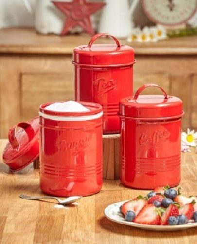 Red Canister Set Kitchen Rustic Coffee Sugar Tea Farmhouse ...