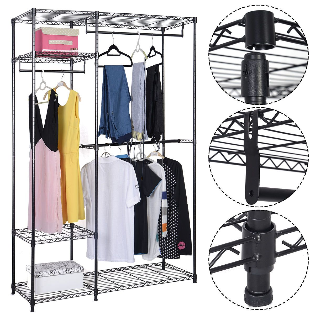 portable steel closet hanger storage rack organizer closet spaces pinterest closet hangers. Black Bedroom Furniture Sets. Home Design Ideas