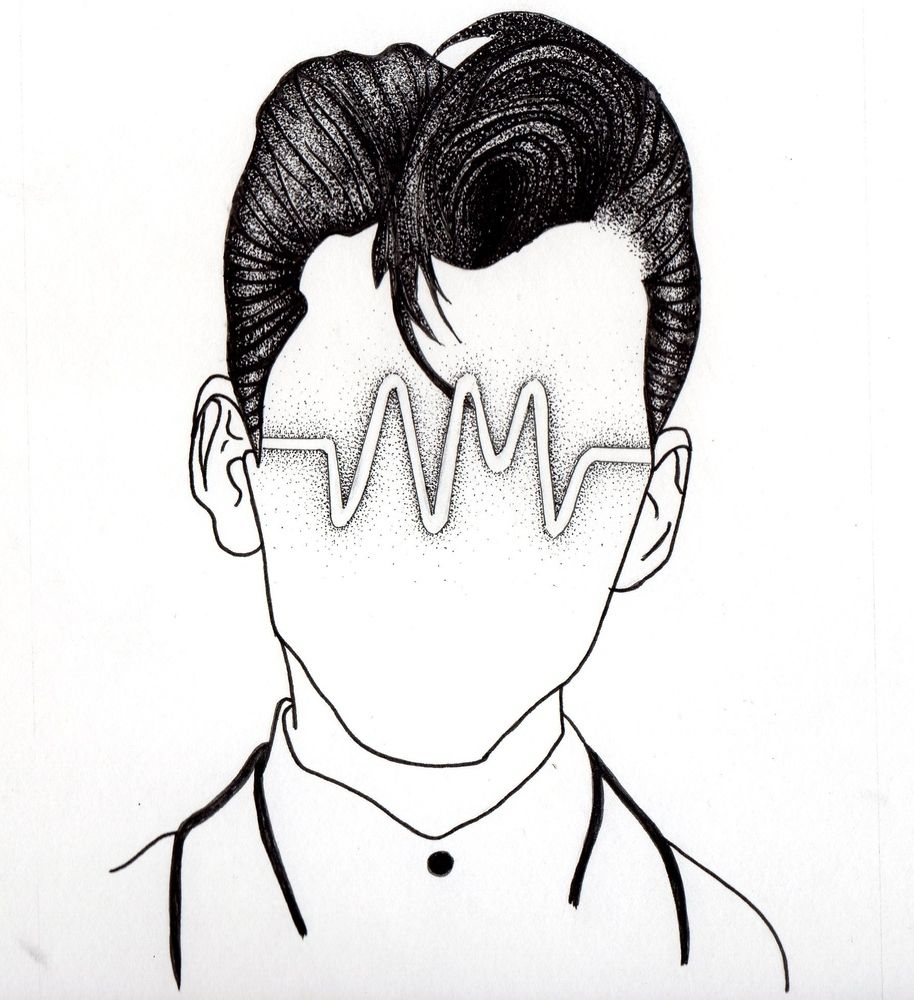 arctic monkeys inspired head based on am logo and alex