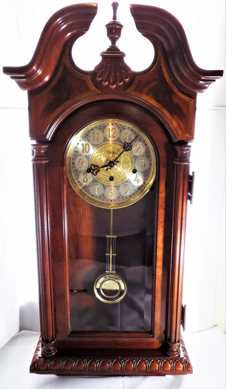 Sligh Key Wound Wall Clock Westminster Chime Farington Etsy Vintage Wall Clock Wall Clock Clock