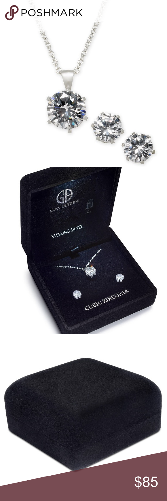 42eb31359 Giani Bernini Cubic Zirconia 2PC 2PC Cubic Zirconia Pendant Necklace & Stud  Earrings Set in Sterling Silver in Recordable Light Up Box • Set in sterling  ...