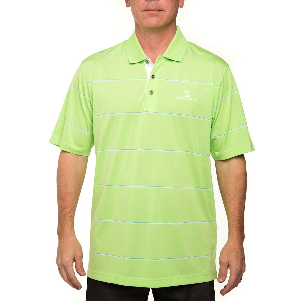f0b352011a Men's Pebble Beach Classic-Fit Engineer-Striped Performance Golf Polo,  Size: Large, Green