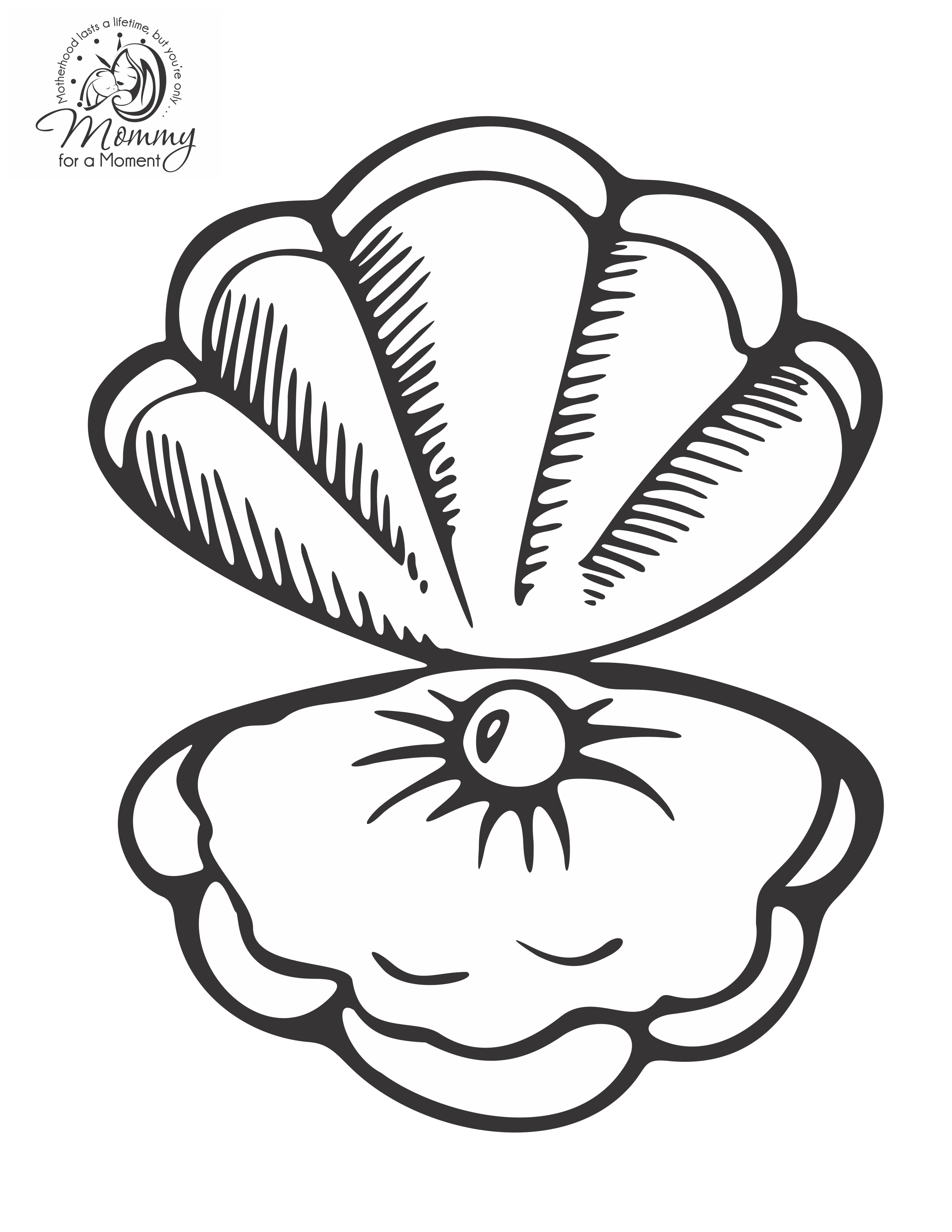 Pearl diving color pages google search pearl of great for Clam coloring page