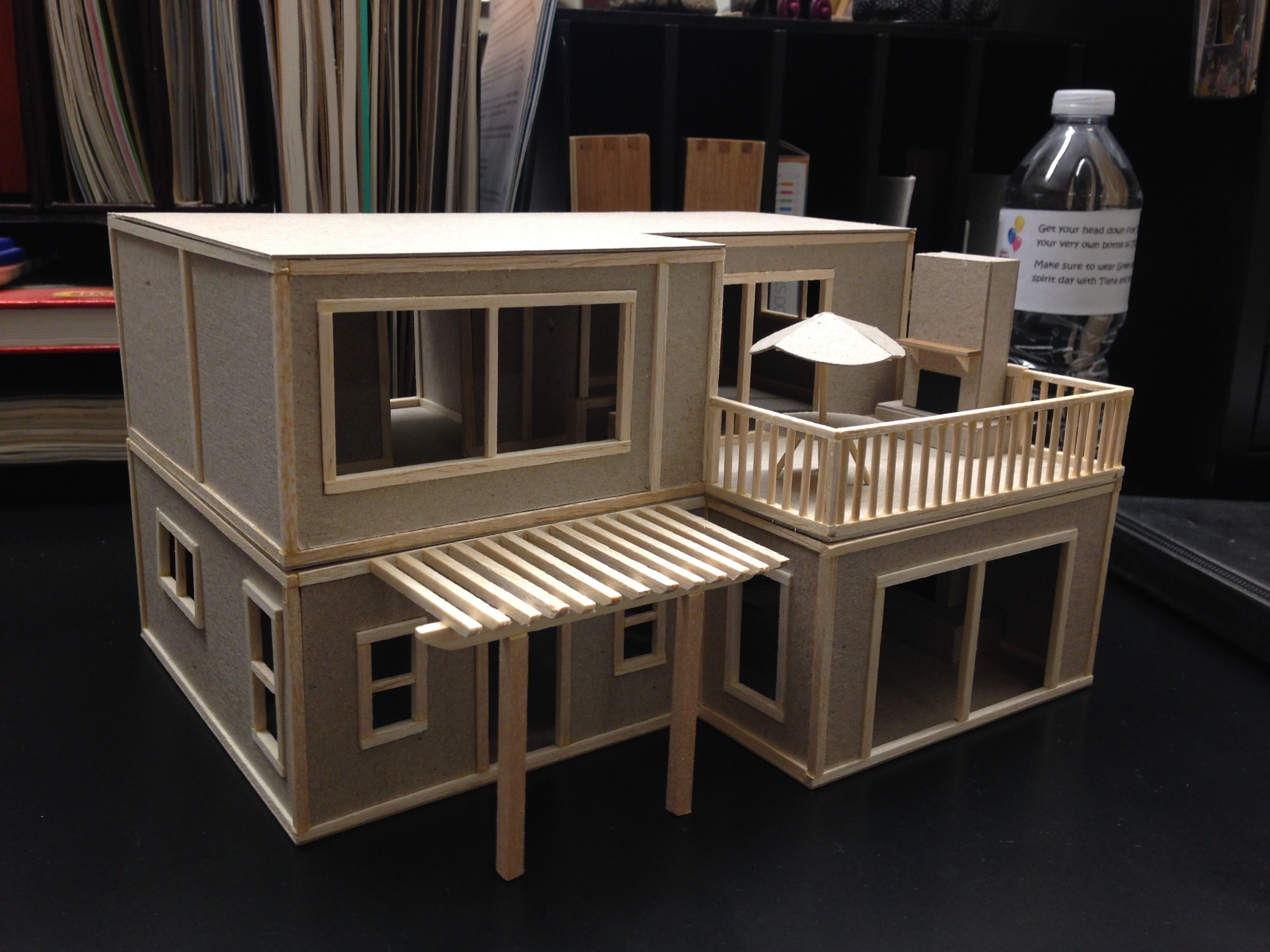 architectural dream beach house model. balsa wood and