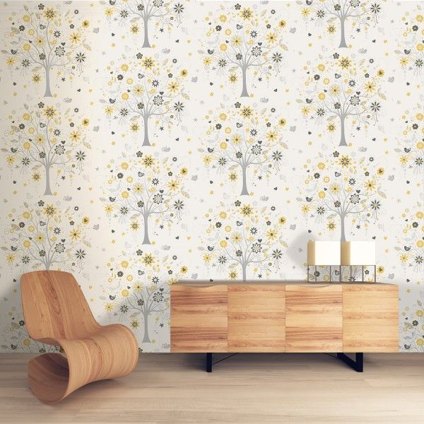 Tree Of Life Yellow Wallpaper Feature Wall Wallpaper Coloroll - Living room wallpaper feature wall