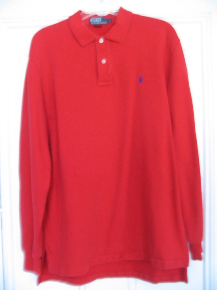 4b4fc164 Ralph Lauren Polo Long sleeve pullover Size Large Red with Navy Blue ...