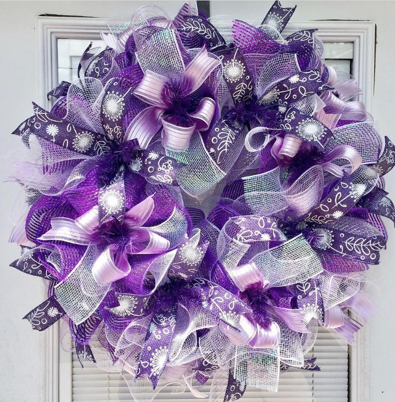 Deco mesh wreath Spring wreath for front door purple wreath | Etsy #decomeshwreaths