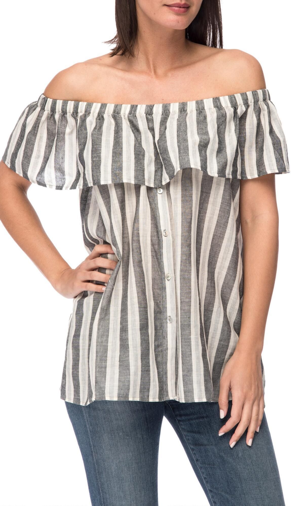 edc3a9cf020 Striped Off Shoulder Blouse Details: - Off The Shoulder - Linen Like Feel -  Button Front - Ruffle Top - 100% Cotton - Models Are Wearing Size Small