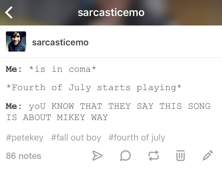 Petekey, Fourth of July SarcasticEmo Fall out boy stuff - quick invoices