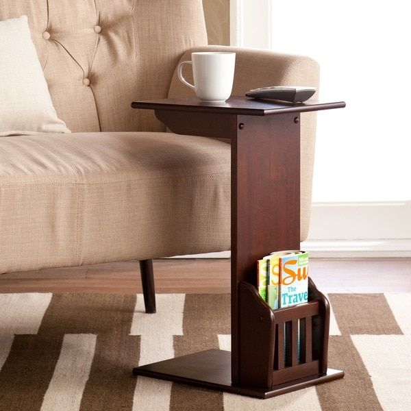 Minimalist Harper Blvd Espresso Magazine Snack Table - Luxury small side table with shelf Trending