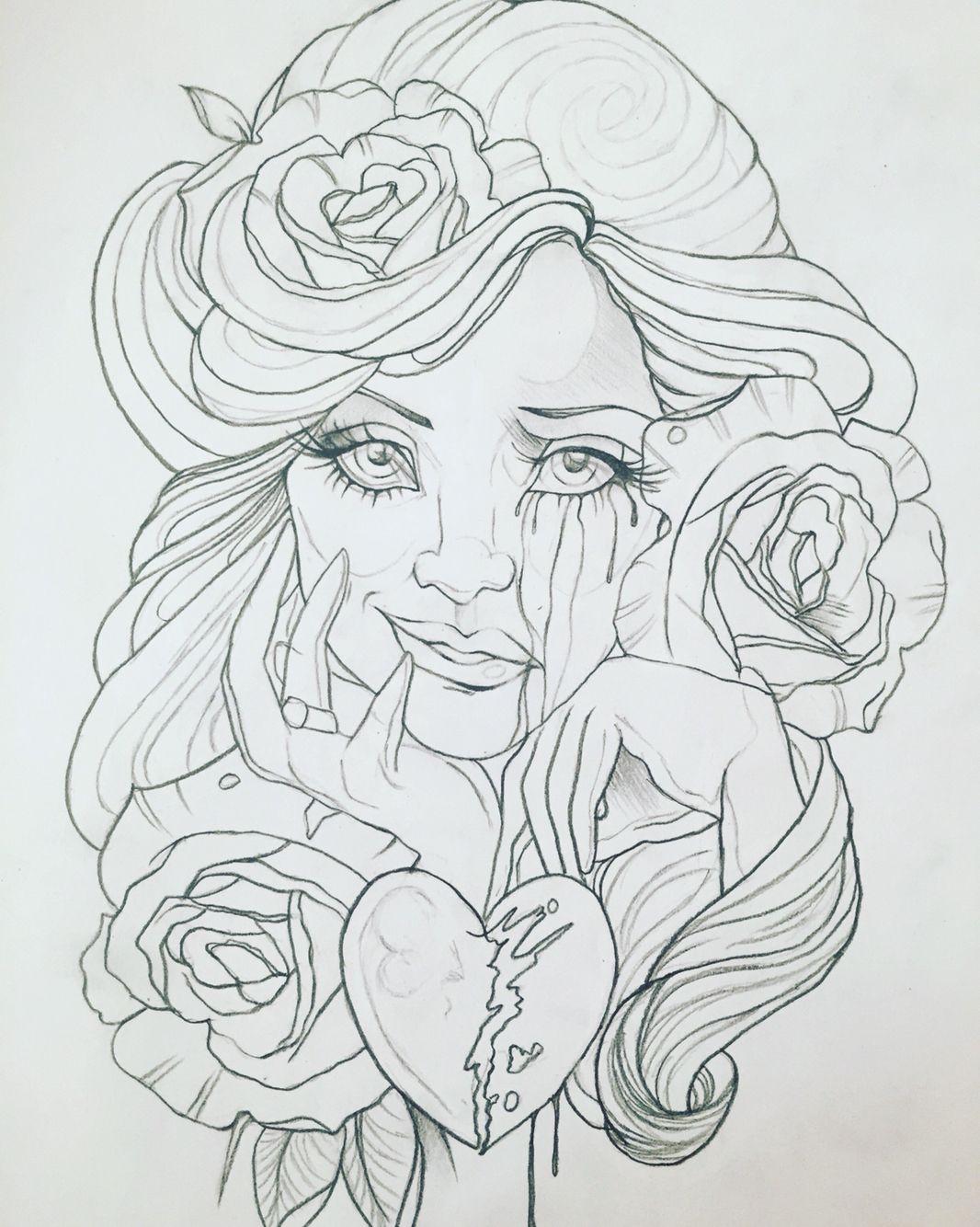 My drawing girl cute awesome sad crying happy brokenheart