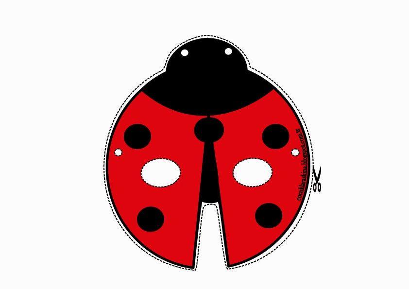 çocuklar Aşkına Uğur Böceği Maskeparti Süslemeleriboyama Sayfası