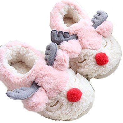 c1226f50e067 D-Sun Xmas Gift Women s Reindeer Plush Cozy Warm Non-Slip Cute Plush Indoor