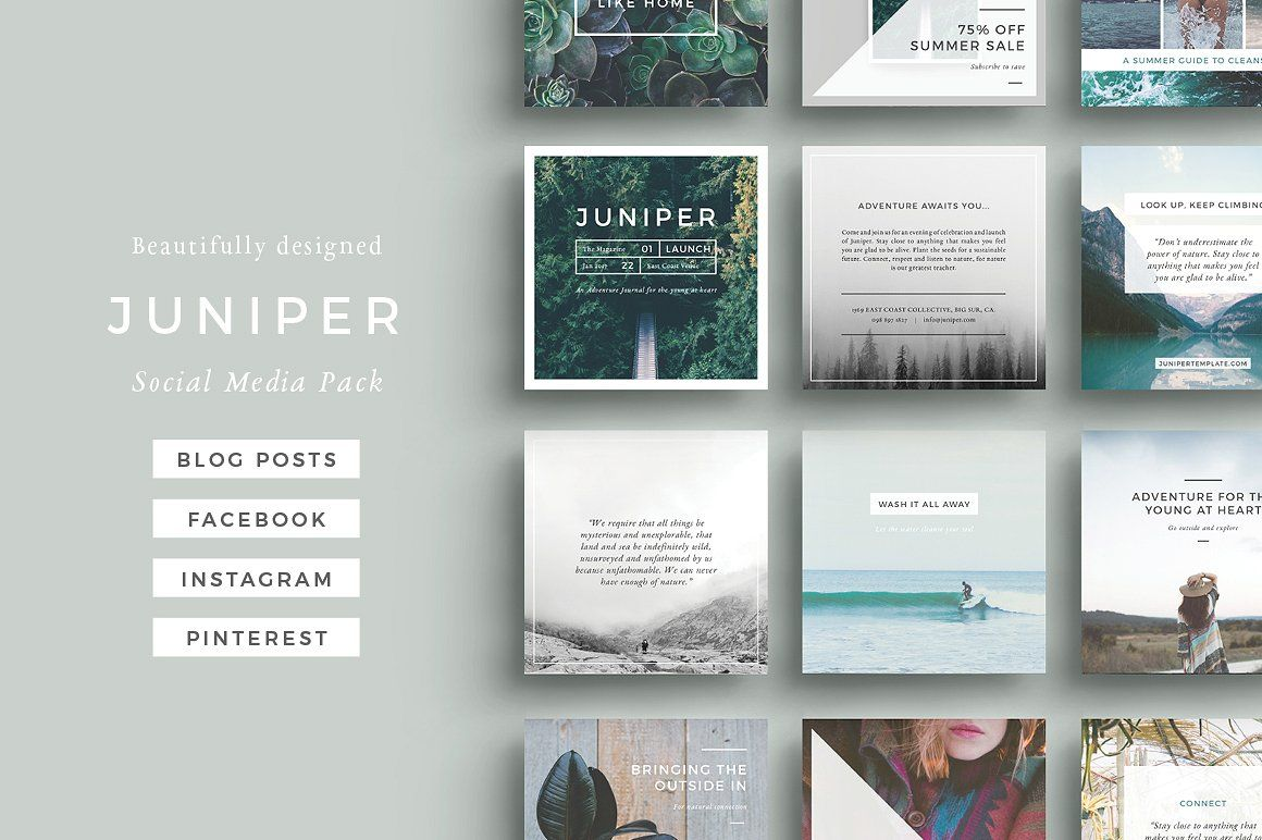 J U N I P E R Social Media Bundle Social Media Template Social Media Pack Social Media