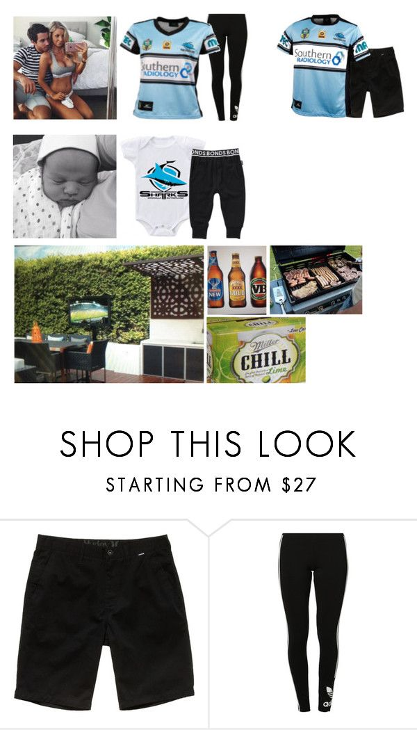 """Watching the grand final"" by cleo-scott ❤ liked on Polyvore featuring Hurley, adidas Originals and Bonds"