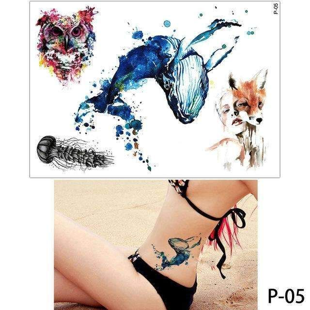 299d36542 1x DIY Body Art Temporary Tattoo Colorful Animals Watercolor Painting  Drawing Horse Butterfly Decal Waterproof Tattoos Sticker