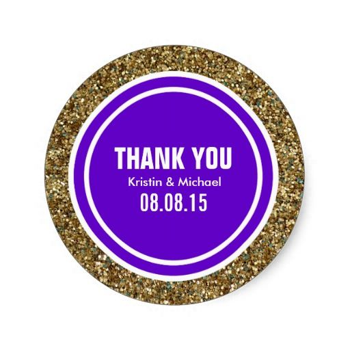 Gold Glitter Purple Custom Thank You Label Gold Glitter - Custom glitter stickers