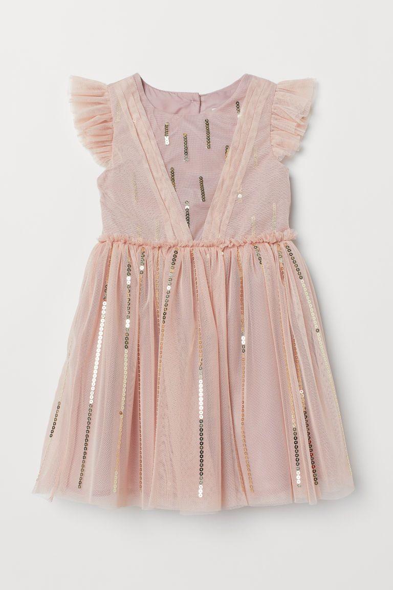 98161650420858 Tulen jurk met pailletten - Poederroze - KINDEREN