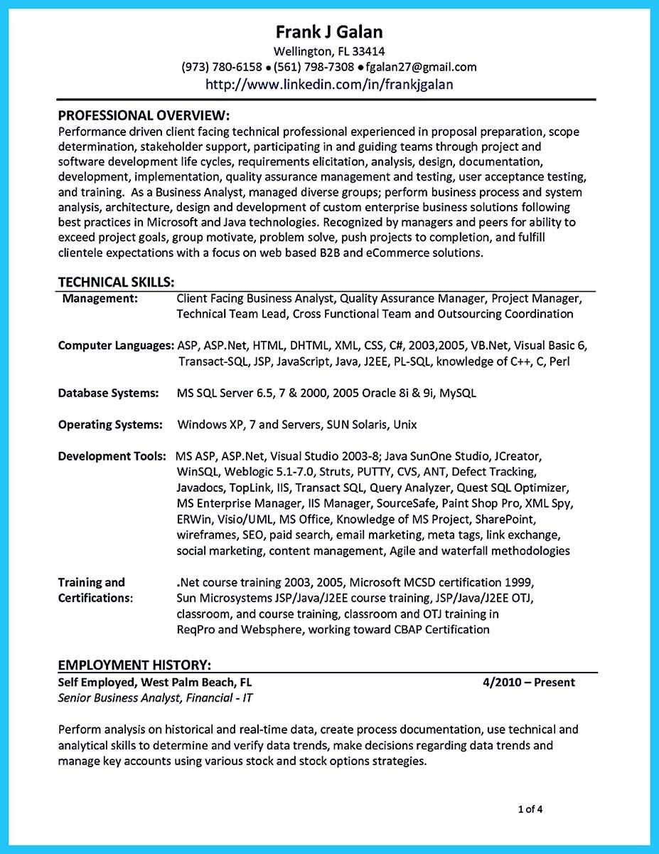 Awesome Create Your Astonishing Business Analyst Resume And Gain The Position Check More At Http Snefci Org Create Your Astonishing Business Analyst Resume A