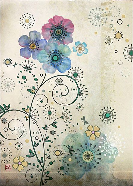 Purple Flowers. Design by Jane Crowther, Bug Art greeting cards