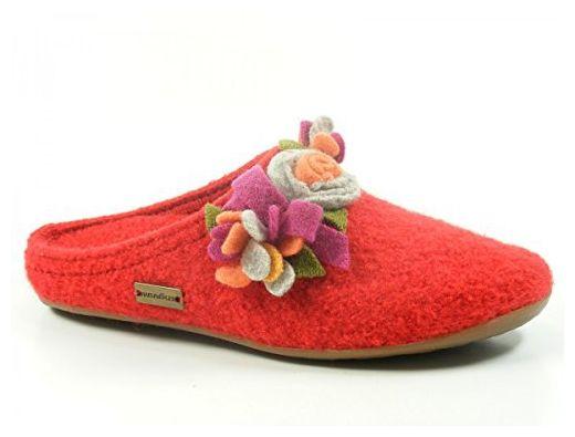 Haflinger 483033 Everest Floriane Schuhe Damen Hausschuhe Pantoffeln Wolle , Schuhgröße:42;Farbe:Rot