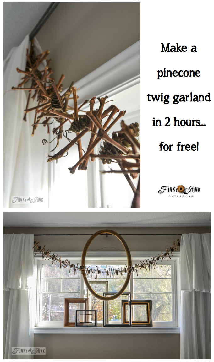 Make an all season pinecone twig garland in under 2 hours... for free! via www.funkyjunkinte...