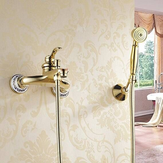 Photo of Bathtub Faucets Wall mounted Gold Shower Faucets For the Bath Solid Brass Bathroom Shower Without Slid Bar Mixer Tap HJ-6790