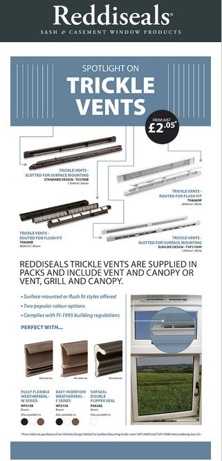 Reddiseals offer a wide range of trickle vents for surface mounted or flush fit application suitable for use with timber and PVC windows.  http://www.reddiseals.com/product-category/casement-window/dry-glazing-and-ventilation/