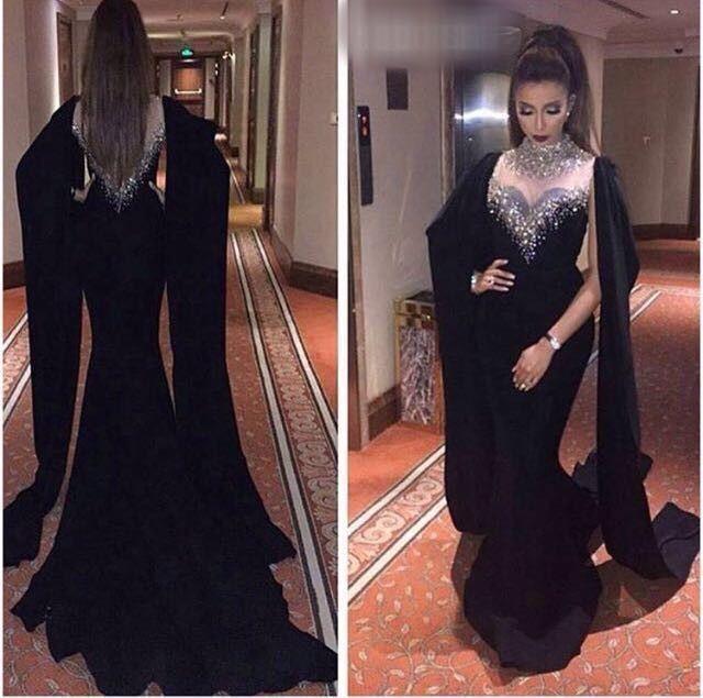 Luxurious Crystal Black Long Muslim Evening Dresses Mermaid 2016 ...