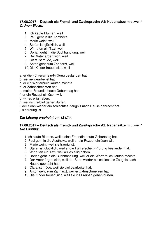 DaF/DaZ A20 Kausalsätze mit Lösung – Unterrichtsmaterial im Fach ...