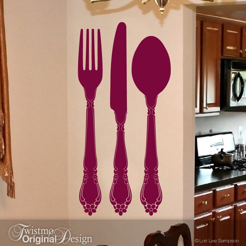 Fork Spoon Knife Kitchen Wall Decal Flatware Silverware Dining Room Art