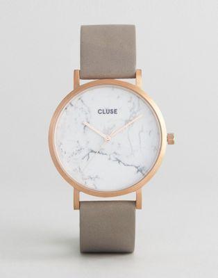 CLUSE - La Roche CL40005 - Montre en cuir - Or rose/marbre blanc/gris