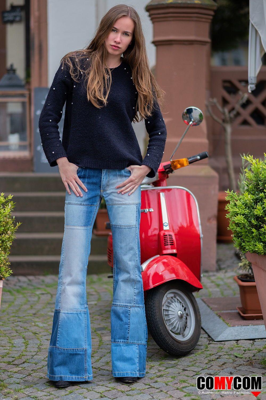 Damen Jeans Patchwork Schlaghose Star Composite   Schlaghose