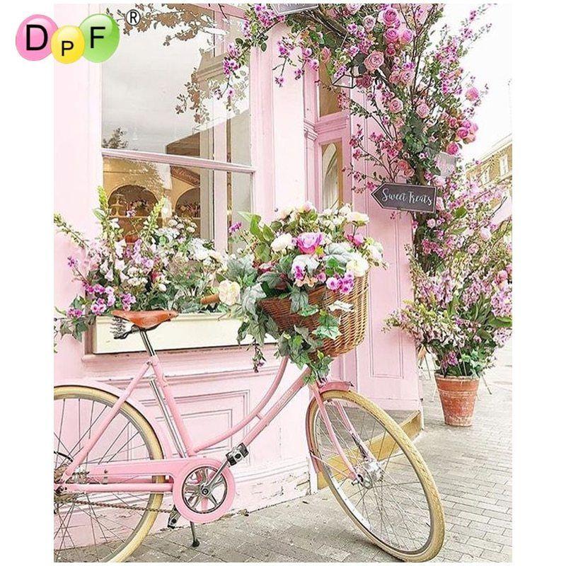 Dpf Diy Bicycle Flower 5D Square Diamond Painting Cross Stitch Crafts Diamond Em
