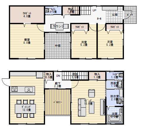 34坪中庭のある家の間取り図 | 間取り, 家の間取り, 二階リビング