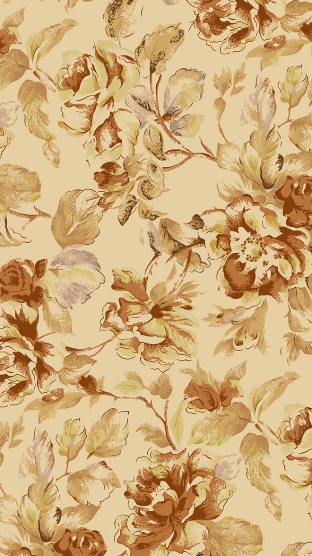 茶色の花柄模様 Iphone6 Plus壁紙 Wallpaperbox 茶色 壁紙 白黒 壁紙 Iphone 用壁紙