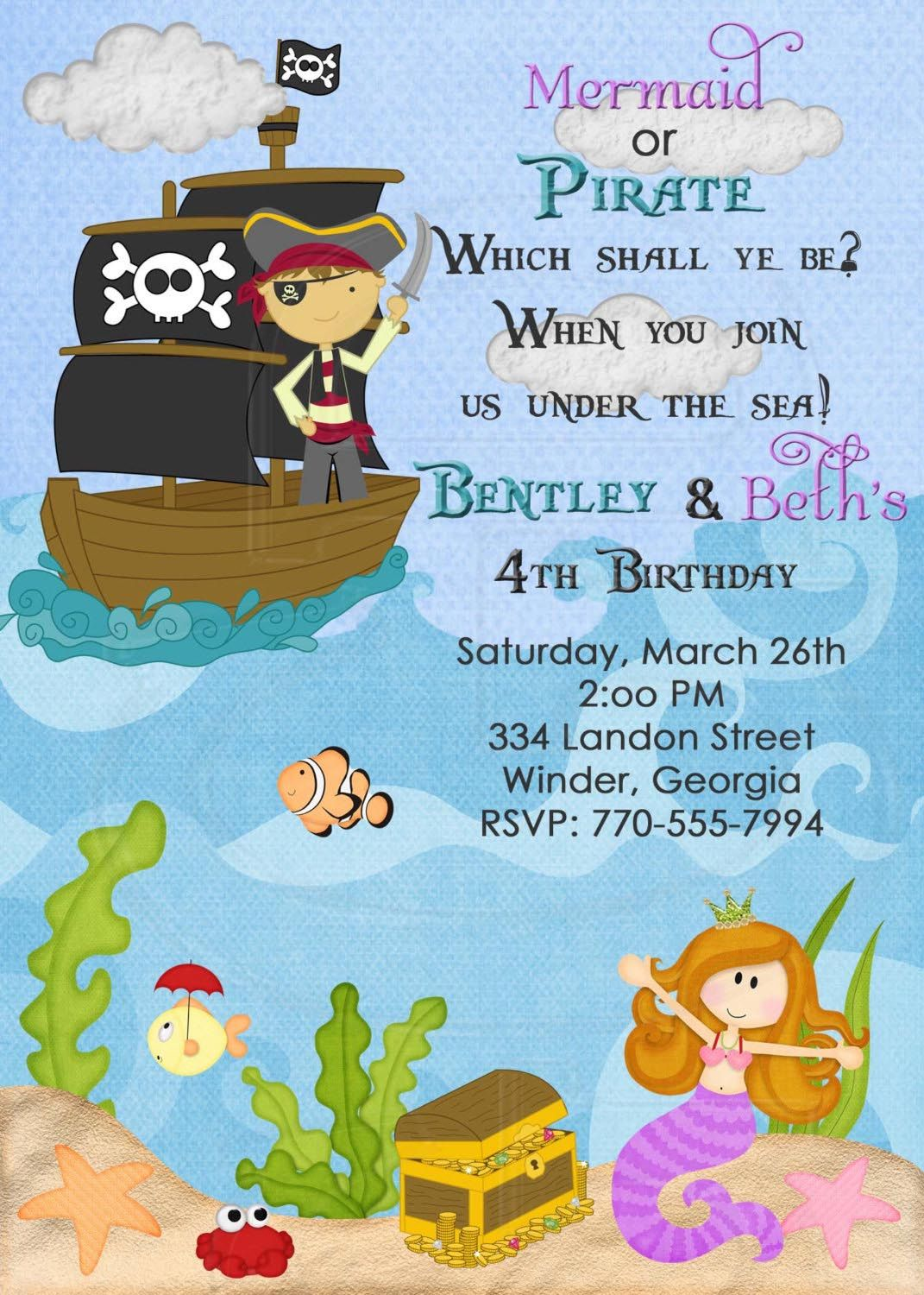 wording idea for the mermaid/pirate invites. If London and Britton ...