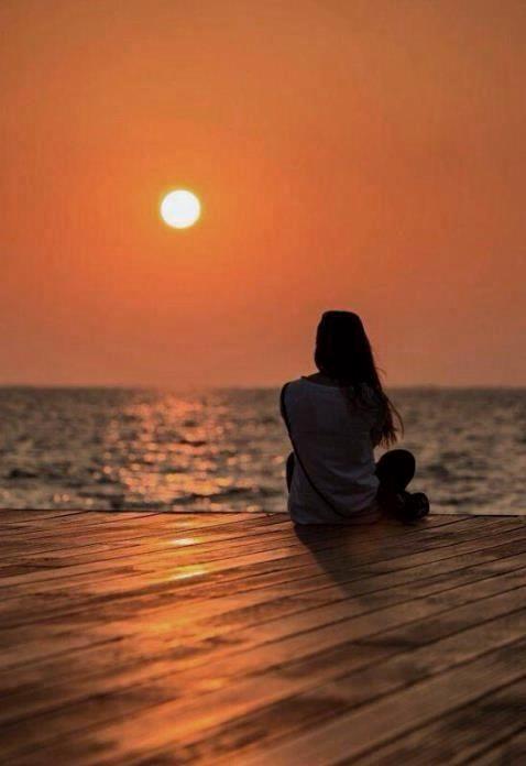 Z- Woman Sitting On Dock At Sunset  Nightisfalling -4157