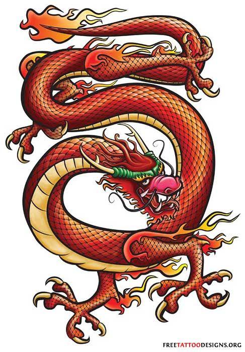 82b83c84e Chinese Dragon Tribal Line Red Art Print by Tina Barnash