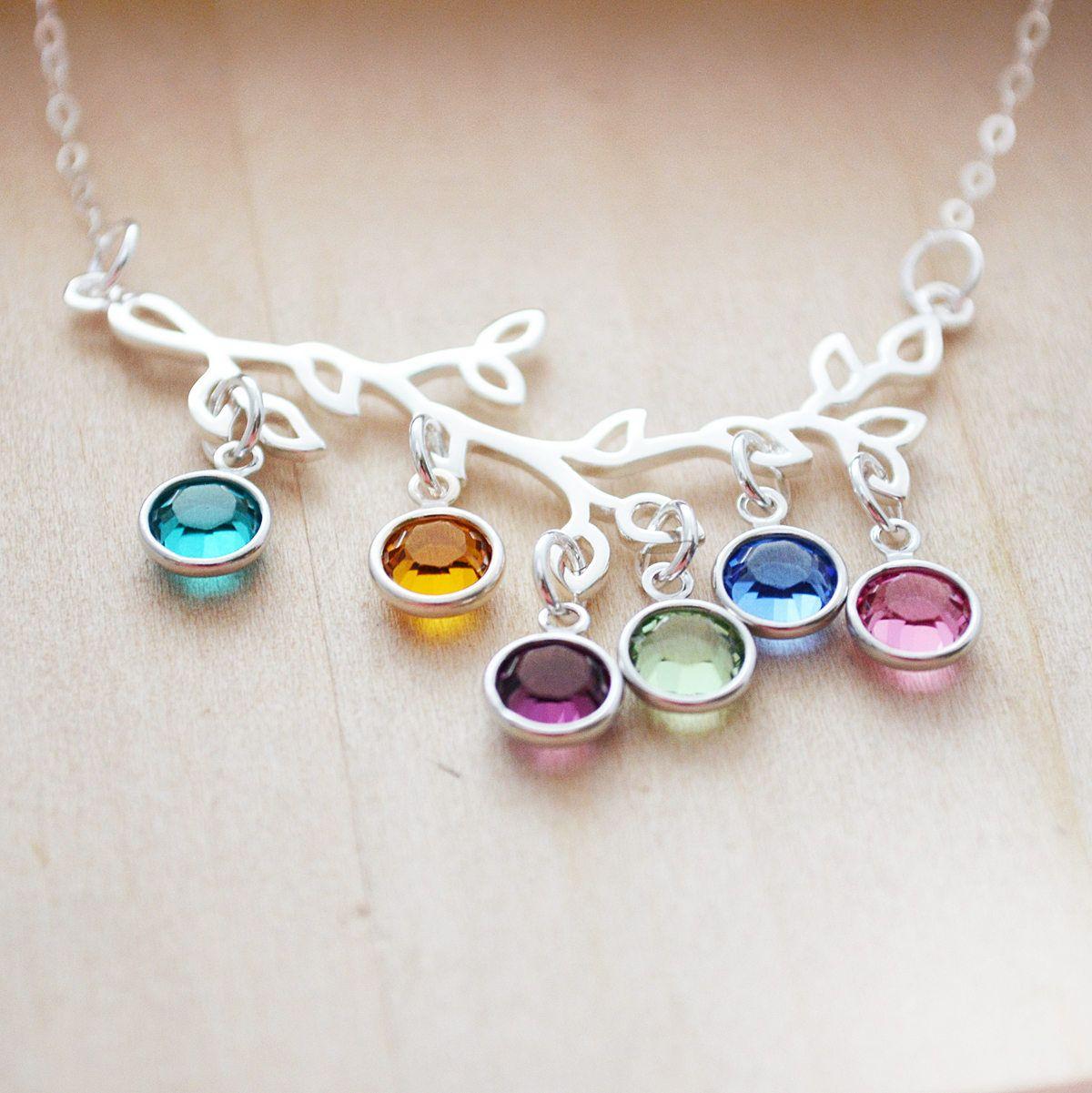Birthstone Necklace For Mom Grandma - Tree of Life ...