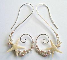 Real Starfish Earrings Hawaiian Beach Hoops di BellaAnelaJewelry