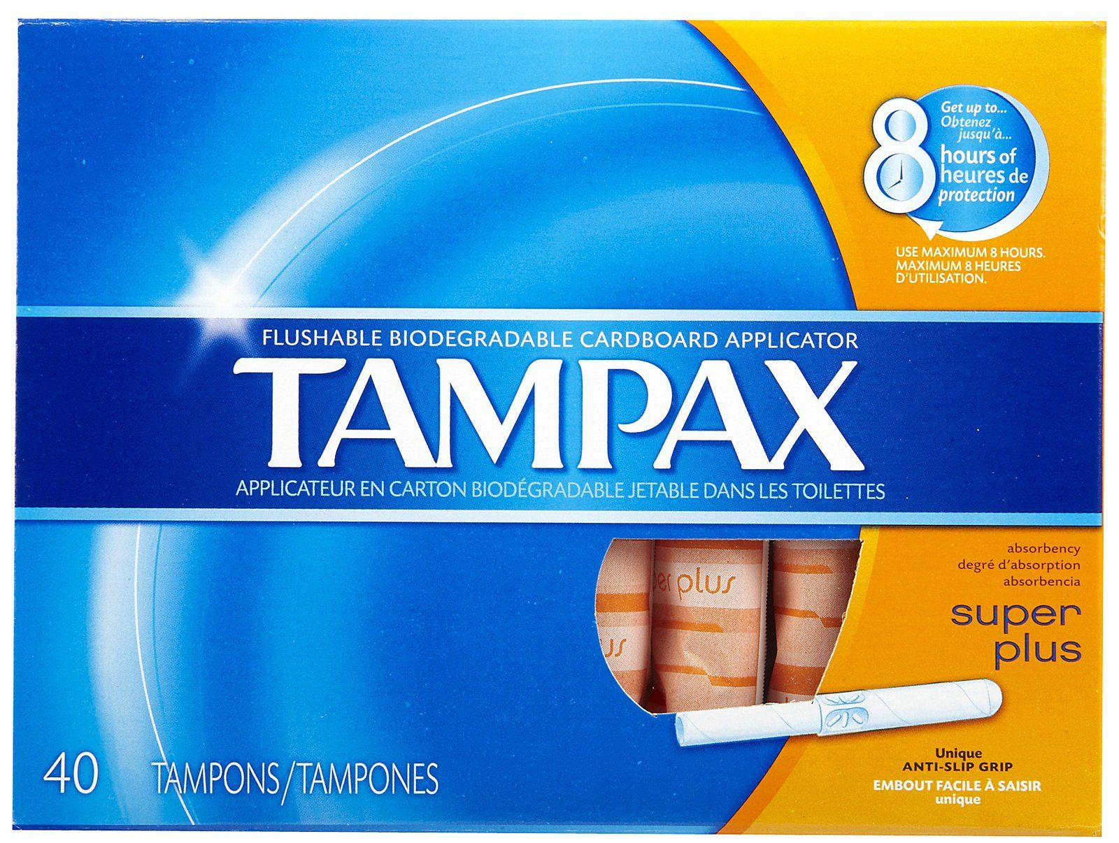 tampax super plus tampons with flushable cardboard applicator 40 ct i hate cardboard applicators. Black Bedroom Furniture Sets. Home Design Ideas