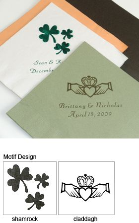 Irish Personalized Napkins Set Of 50 Irish Wedding Favors