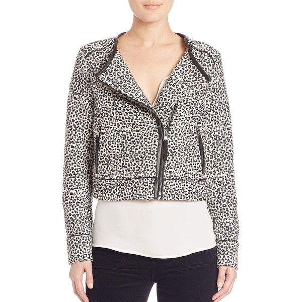 Joie Pattyn Leopard Jacquard Jacket ($445) ❤ liked on Polyvore featuring…