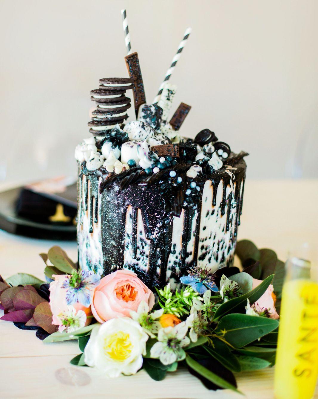 Black and white drip cake sift bakehouse phoenix arizona