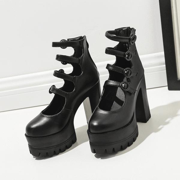 03967843f3b3 Black 4 Buckle Strap High-Heels Shoes SD00156 - SYNDROME - Cute Kawaii  Harajuku Street Fashion Store