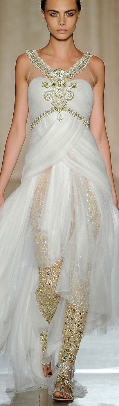 Marchesa ~ Sheer Evening Gown, White, Embellishments
